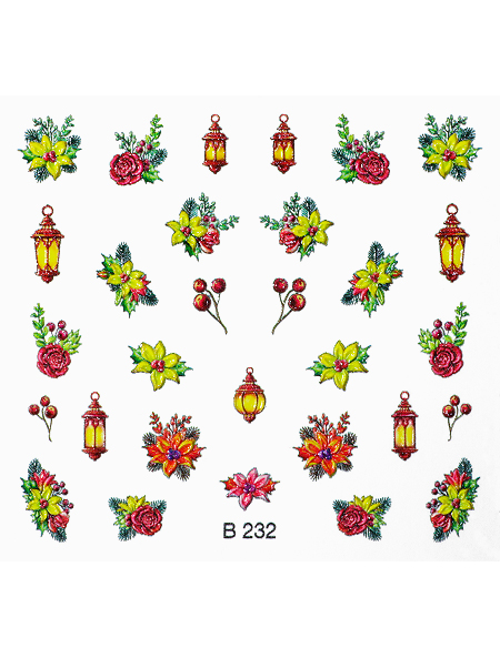 Water decals, nail stickers 3D-слайдер B232 image