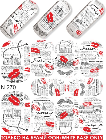 Water decals, nail stickers N 270