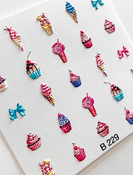 Water decals, nail stickers 3D-слайдер B229