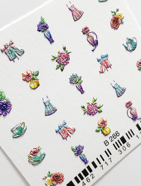 Water decals, nail stickers 3D-слайдер B266