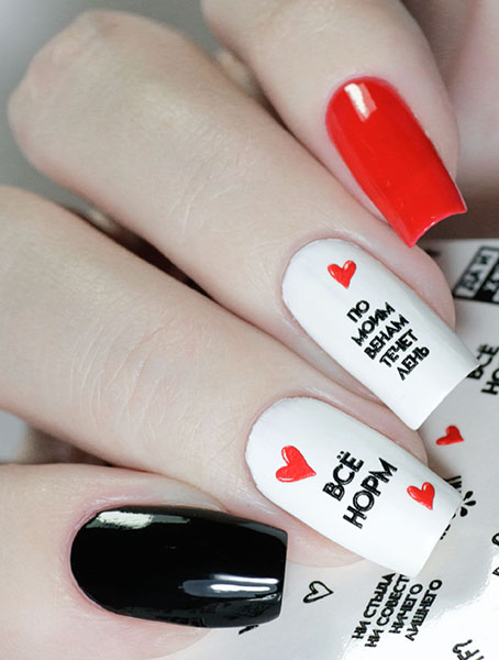 Water decals, nail stickers 3D-слайдер A77 черные image
