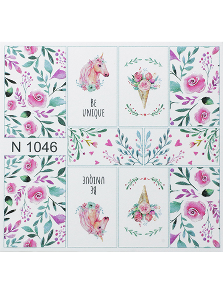 Water decals, nail stickers N 1046