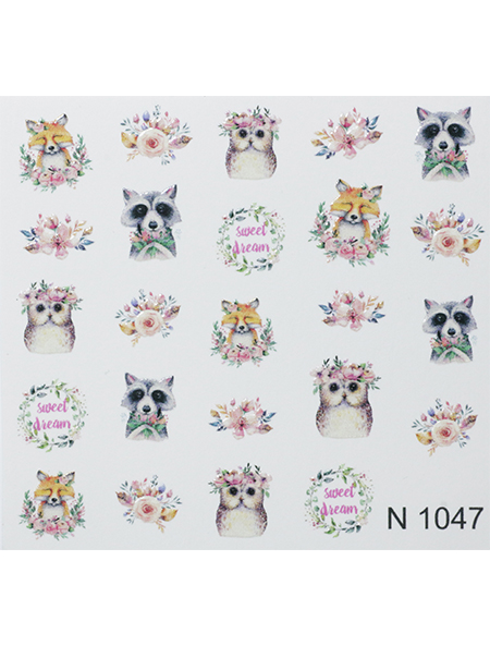 Water decals, nail stickers N 1047