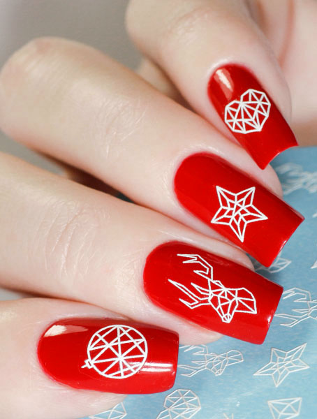 Water decals, nail stickers 3D-слайдер A79 белый image
